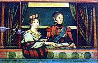 Princess Charlotte and Prince Leopold in crude copy of famous portrait